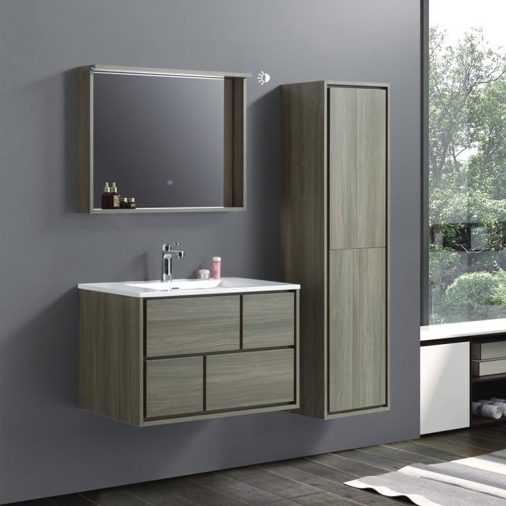 32 In Wall Mount Vanity Set With Linen, Bathroom Vanity And Linen Cabinet