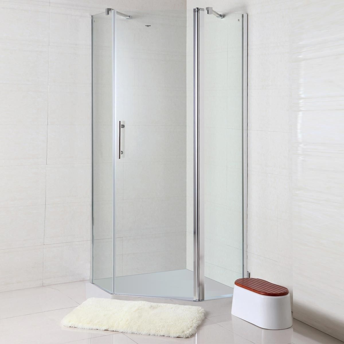 36 X 36 In 90 X 90 Cm Clear Tempered Glass Corner Shower Stall