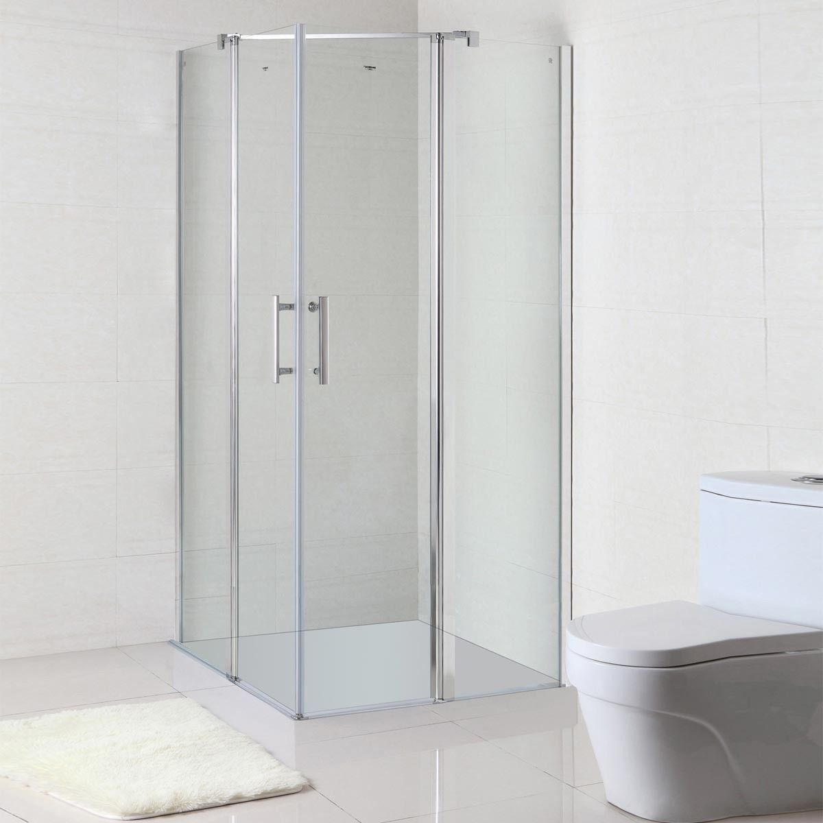 36 x 36 In. (90 x 90 cm) Clear Tempered Glass Stand Alone Shower ...