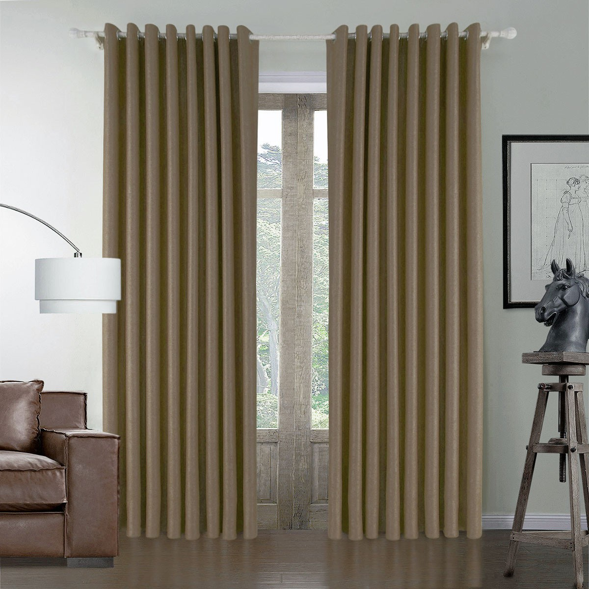 "Brown Embossed Blackout Grommet Curtain Panel - 50"" W x 84"" L (DK-GT003)"