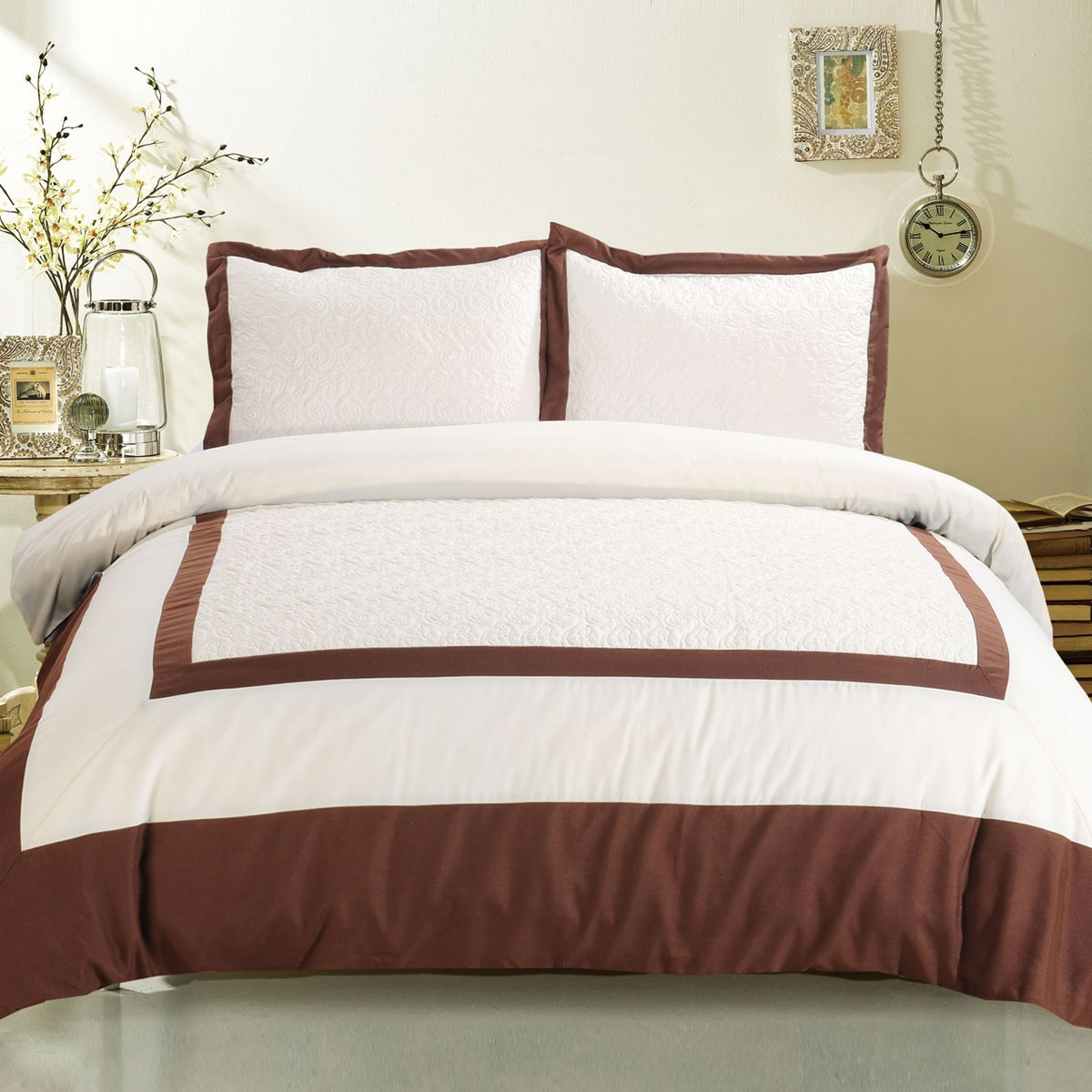 3-Piece Brown Duvet Cover Set (DK-LJ012)