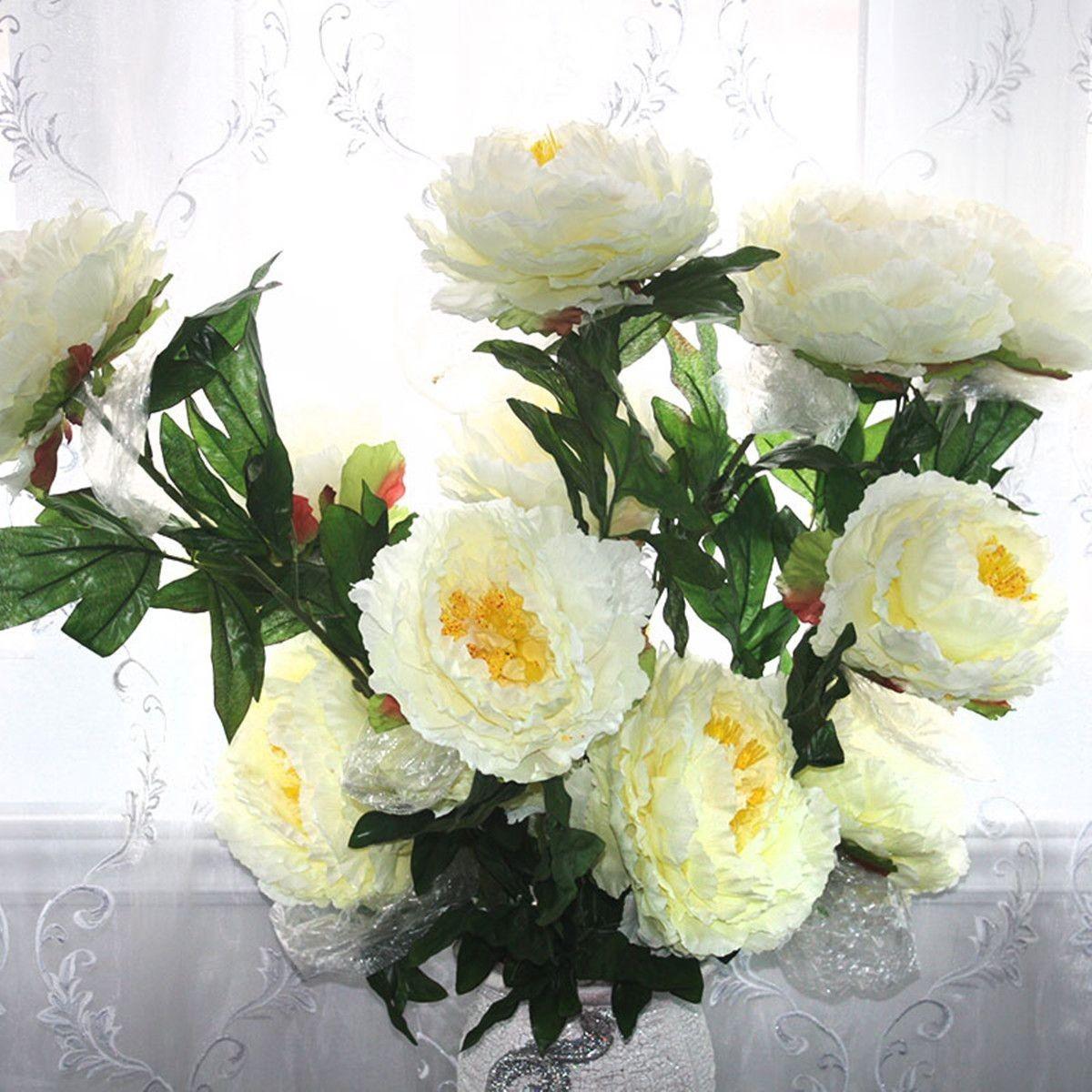 "Artificial Peony Flower/3 Heads/Piece - 39"" - White"