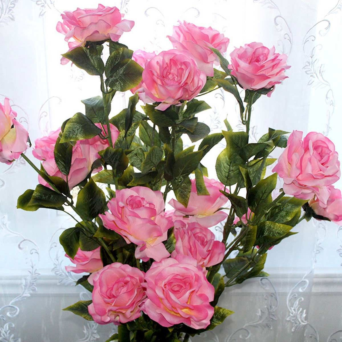 """Artificial Rose Flower/5 Heads/Piece - 55"""""""