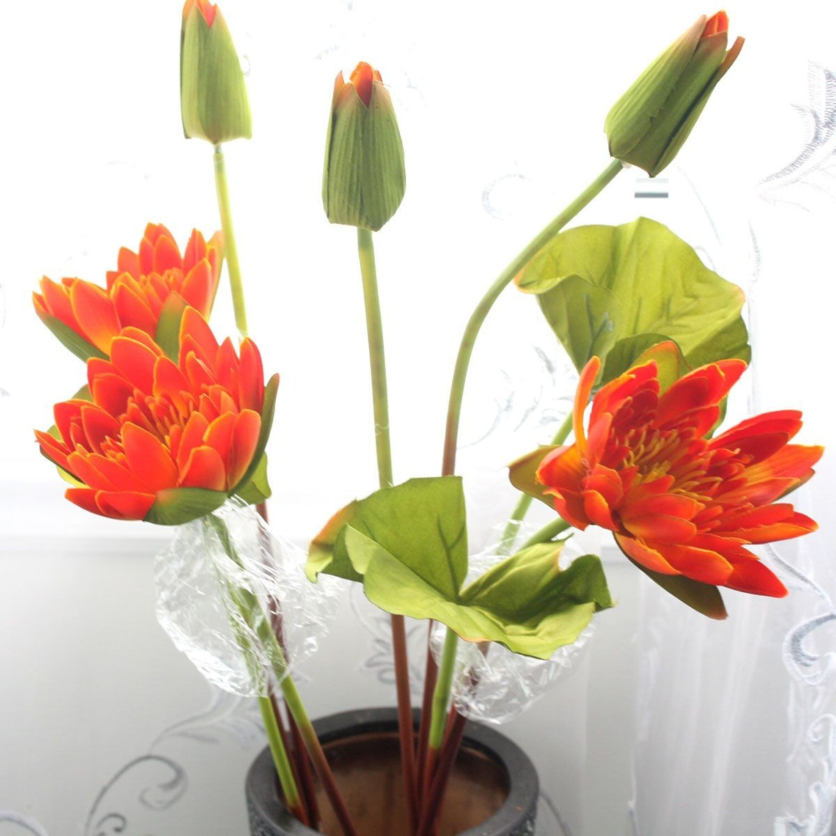 "Artificial Water Lily Flower/3 Heads/Piece - 37"" - Orange"