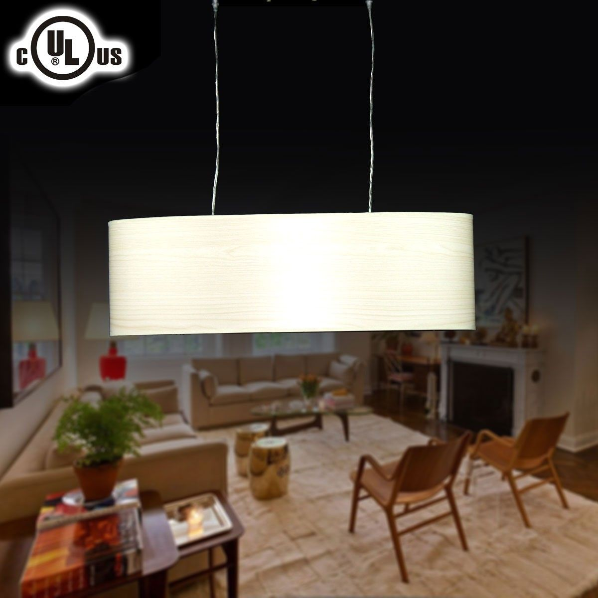 Metal& Fabric Built Modern Style 2-Light Barrel Pendant Light (HYD61569-2)