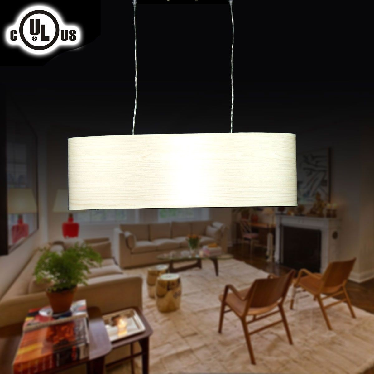 Metal& Fabric Built Modern Style 2-Light Barrel Pendant Light (HYD61569-2)