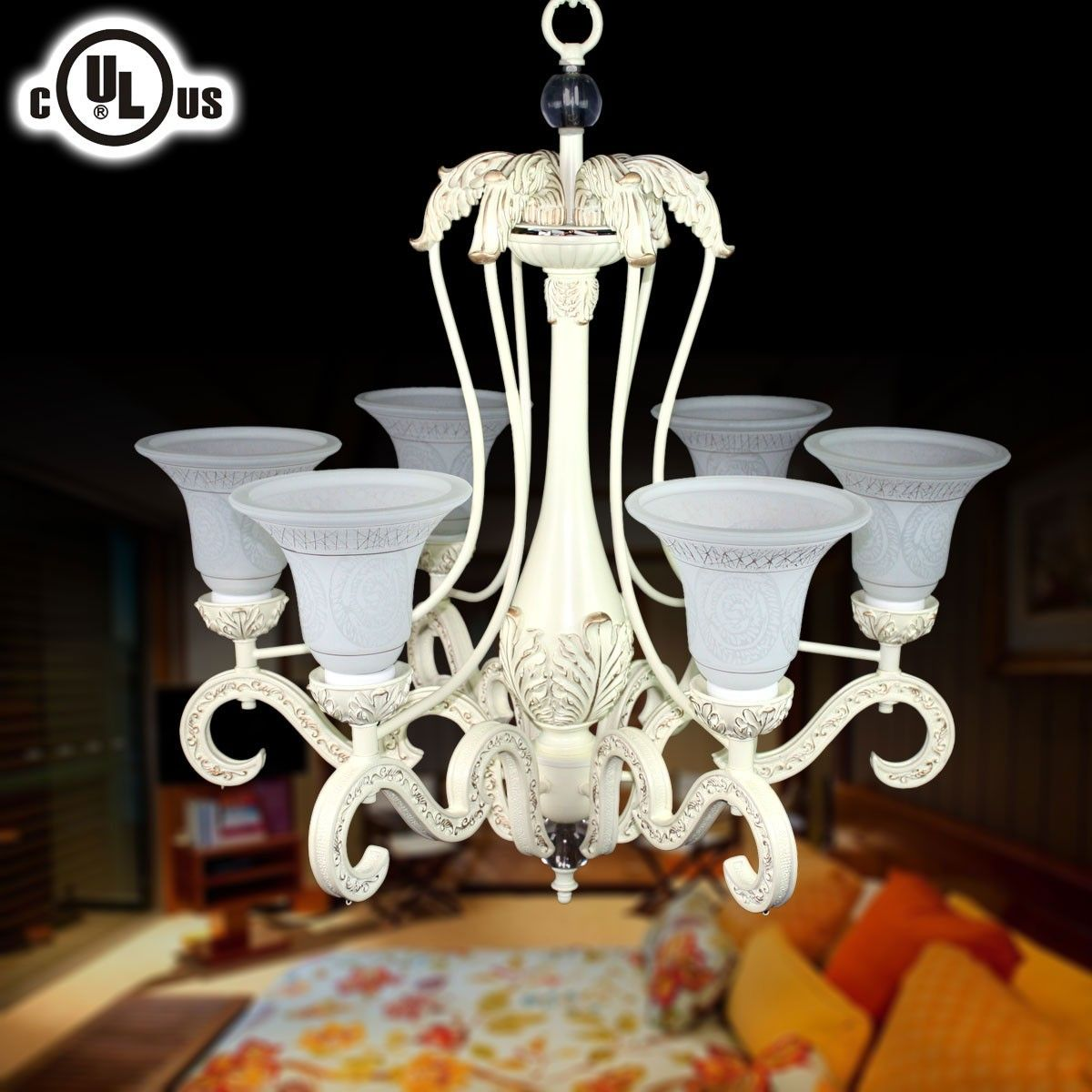 Metal & Resin Built Classic Style 6-Light Chandelier/Diameter 29 Inch (CH0019-6C)