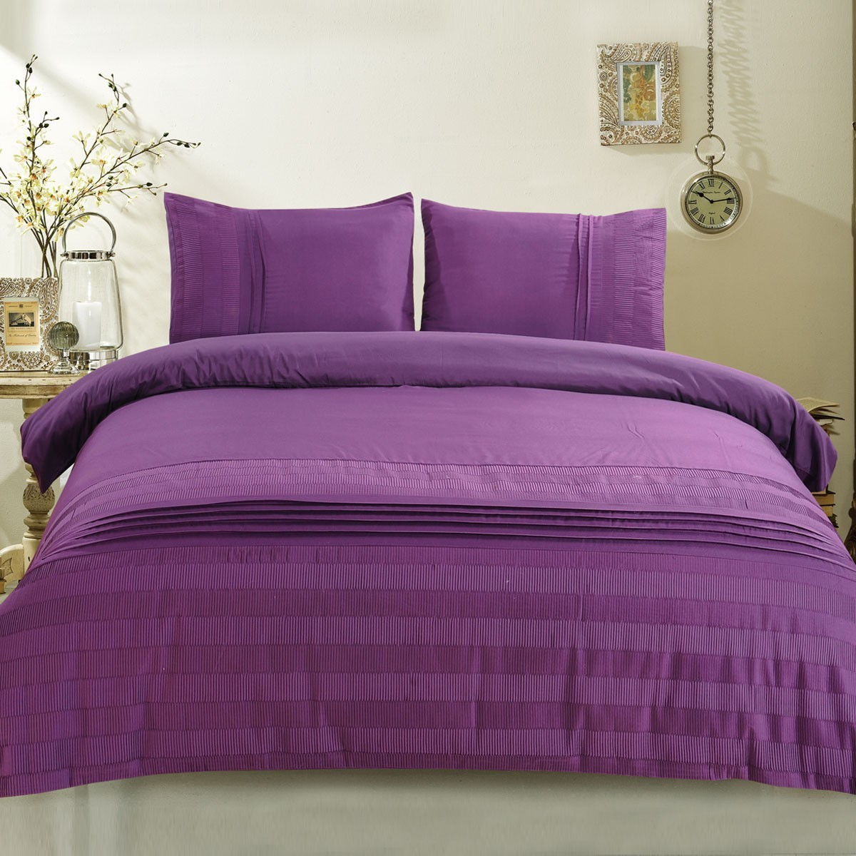 3 Piece Purple Duvet Cover Set Dk Lj013 Decoraport Canada