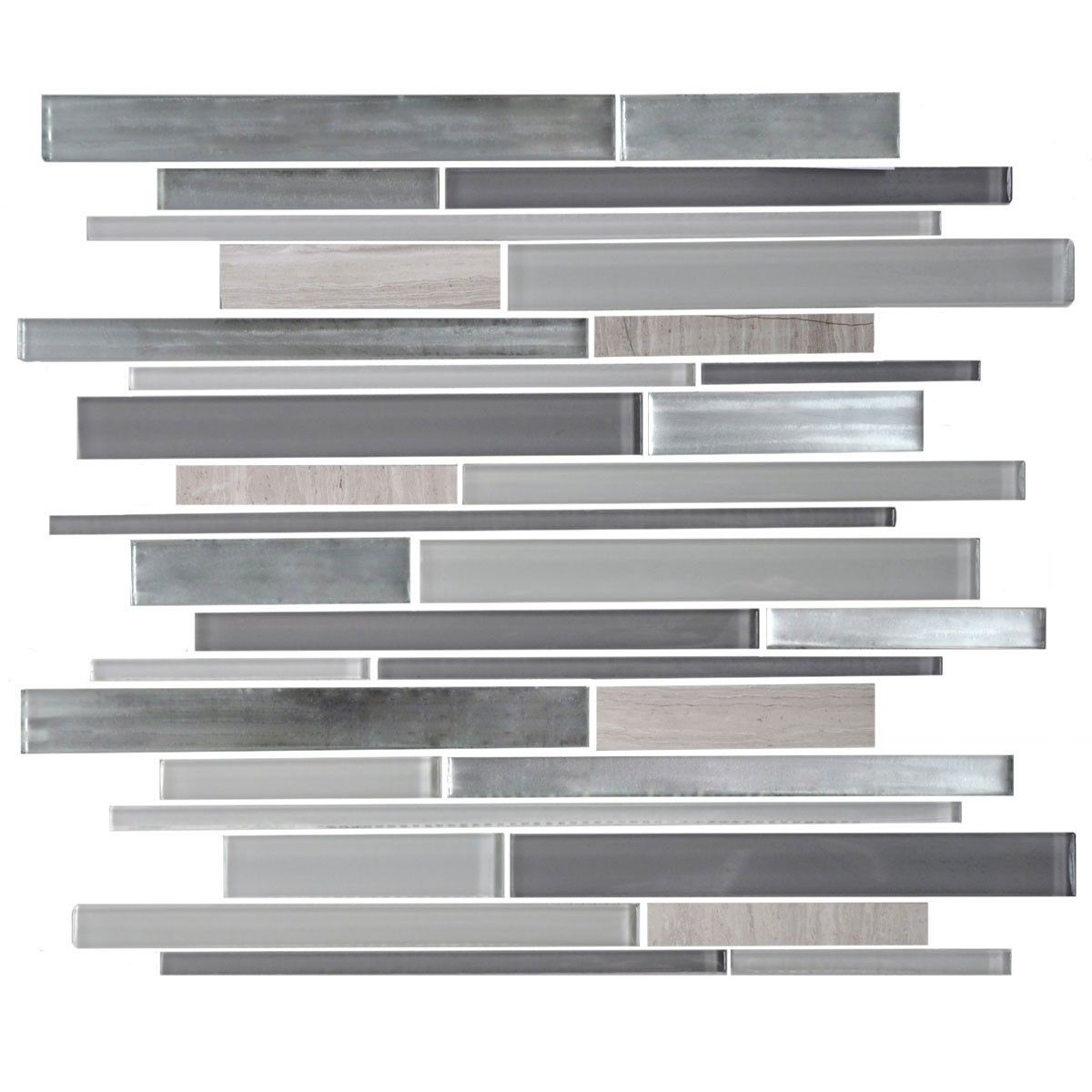 14.5 in. x 12.2 in. Glass/Stone Blend Strip Mosaic Tile - 8mm Thickness (AD806121)
