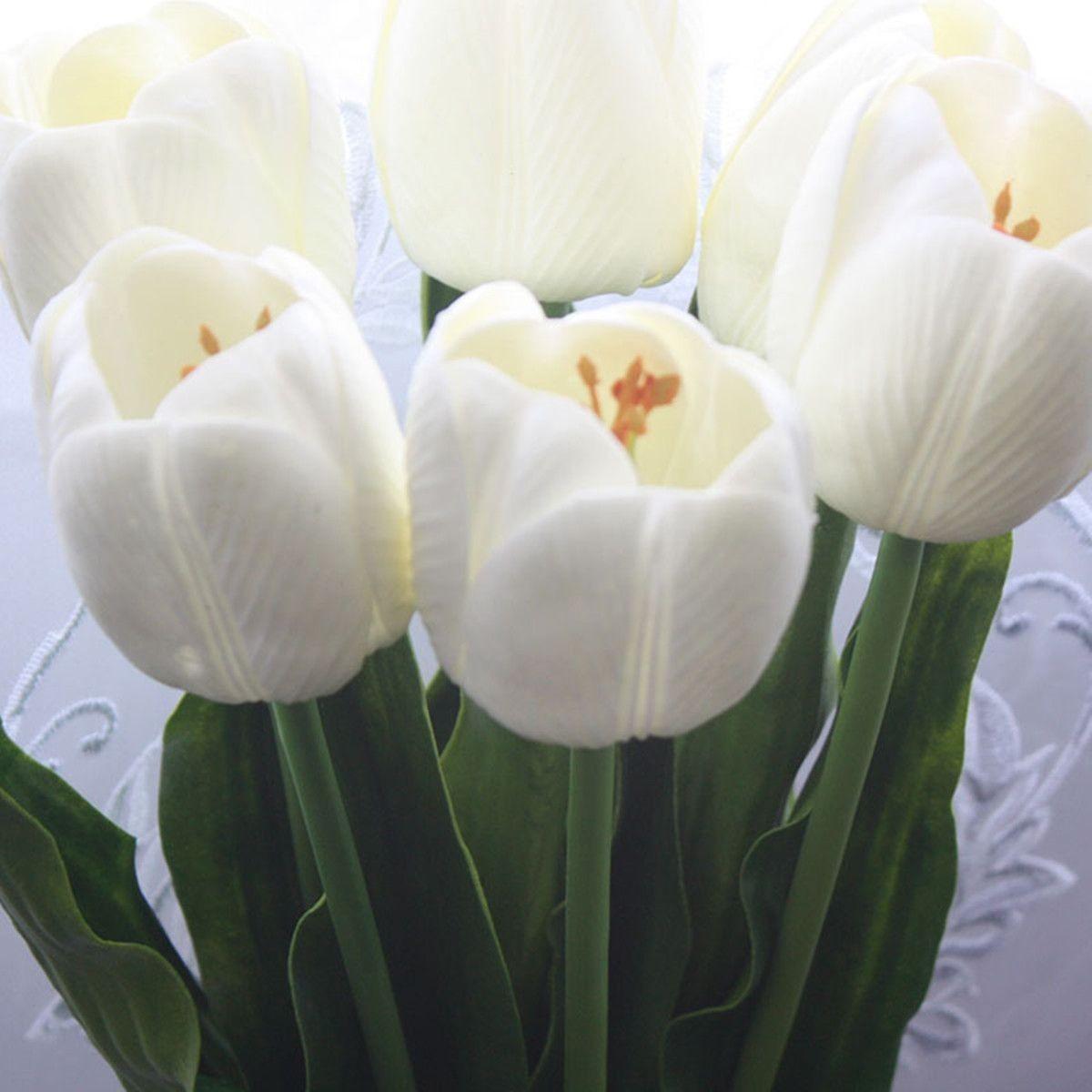 "PU Artificial Tulip Flower/10 Pcs Bunch/23""-White"