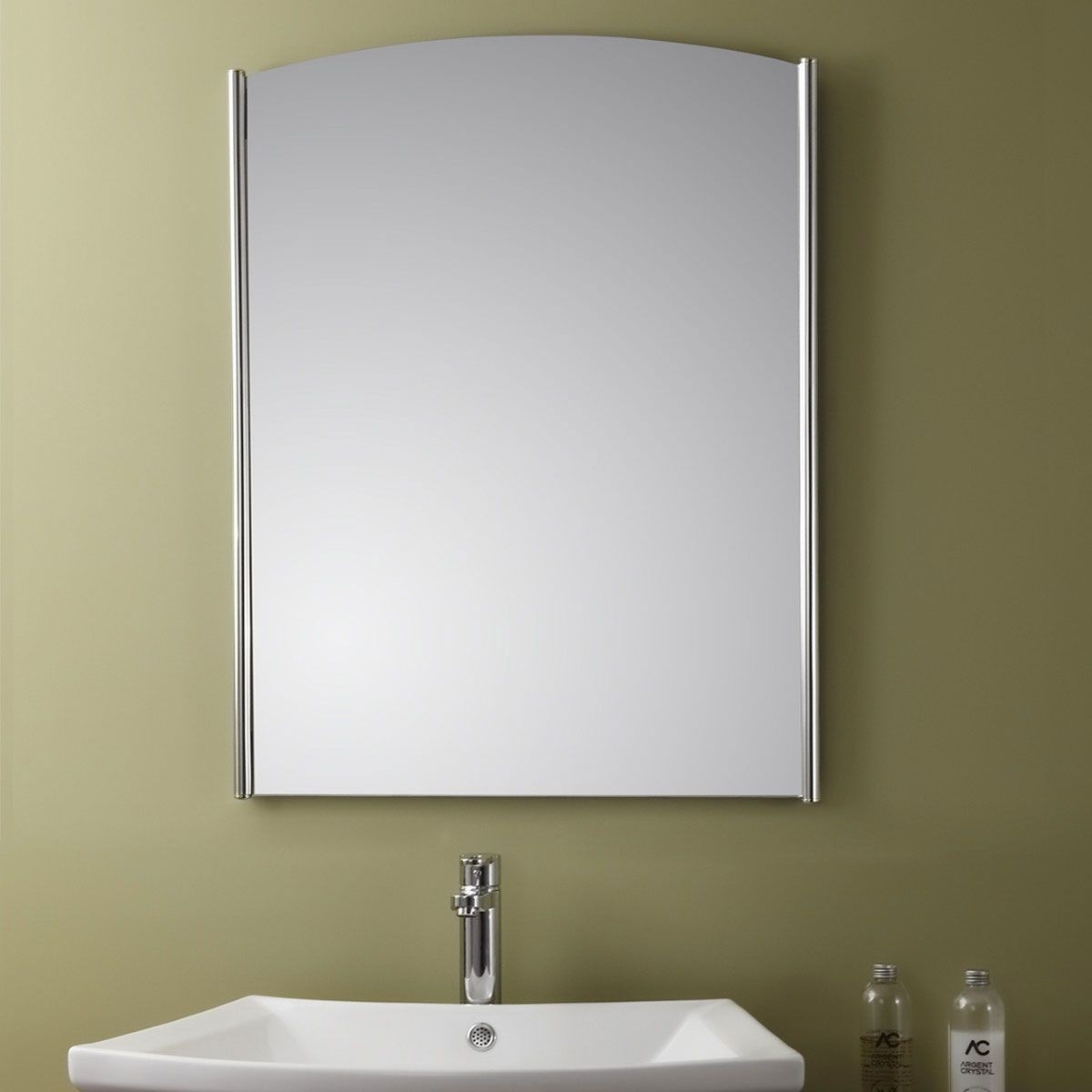 Vertical Stainless Steel Framed Bathroom Silvered Mirror ...