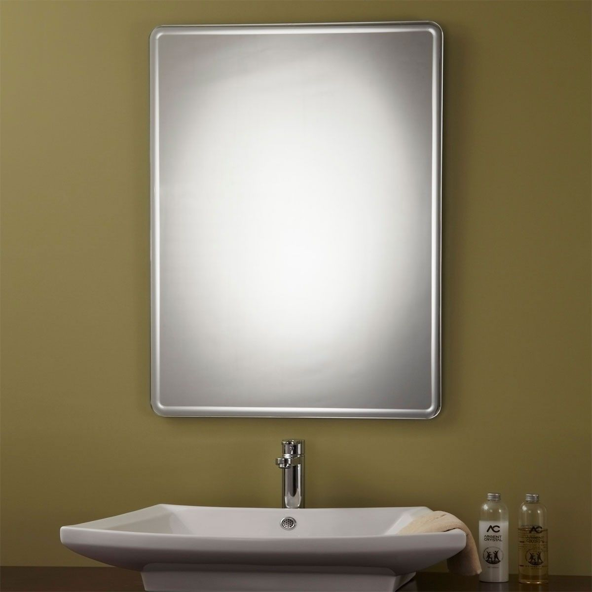 24 x 32 In Unframed Bathroom Silvered Mirror - Reversible and Round Polished Edge (YJ-169H)