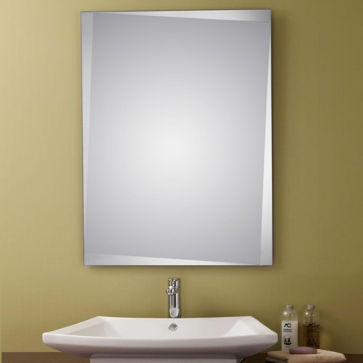 24 x 32 In Unframed Bathroom Mirror - Reversible and Beveled Edge ...