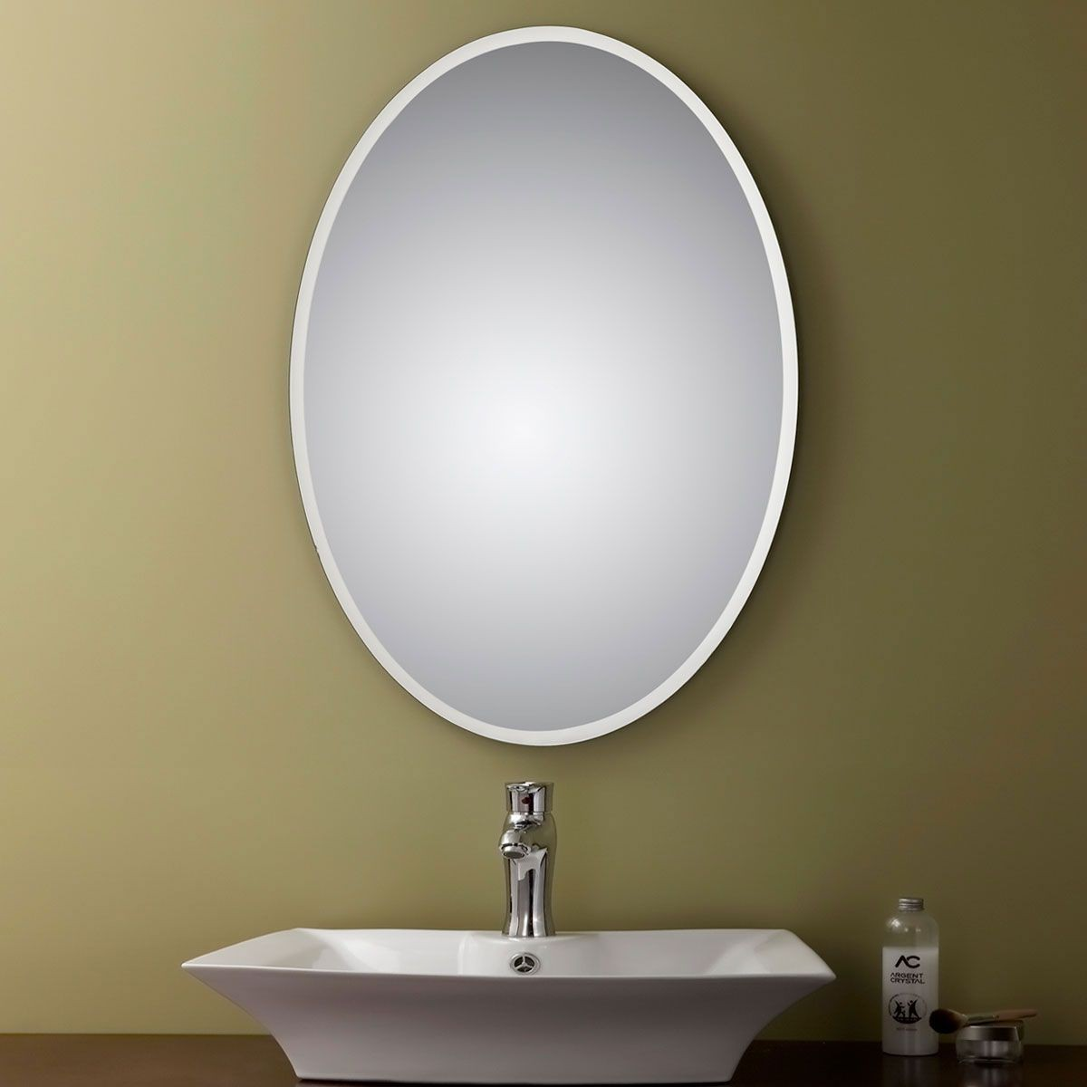 23 x 31 in unframed bathroom silvered oval mirror - Miroir salle de bain chauffant ...