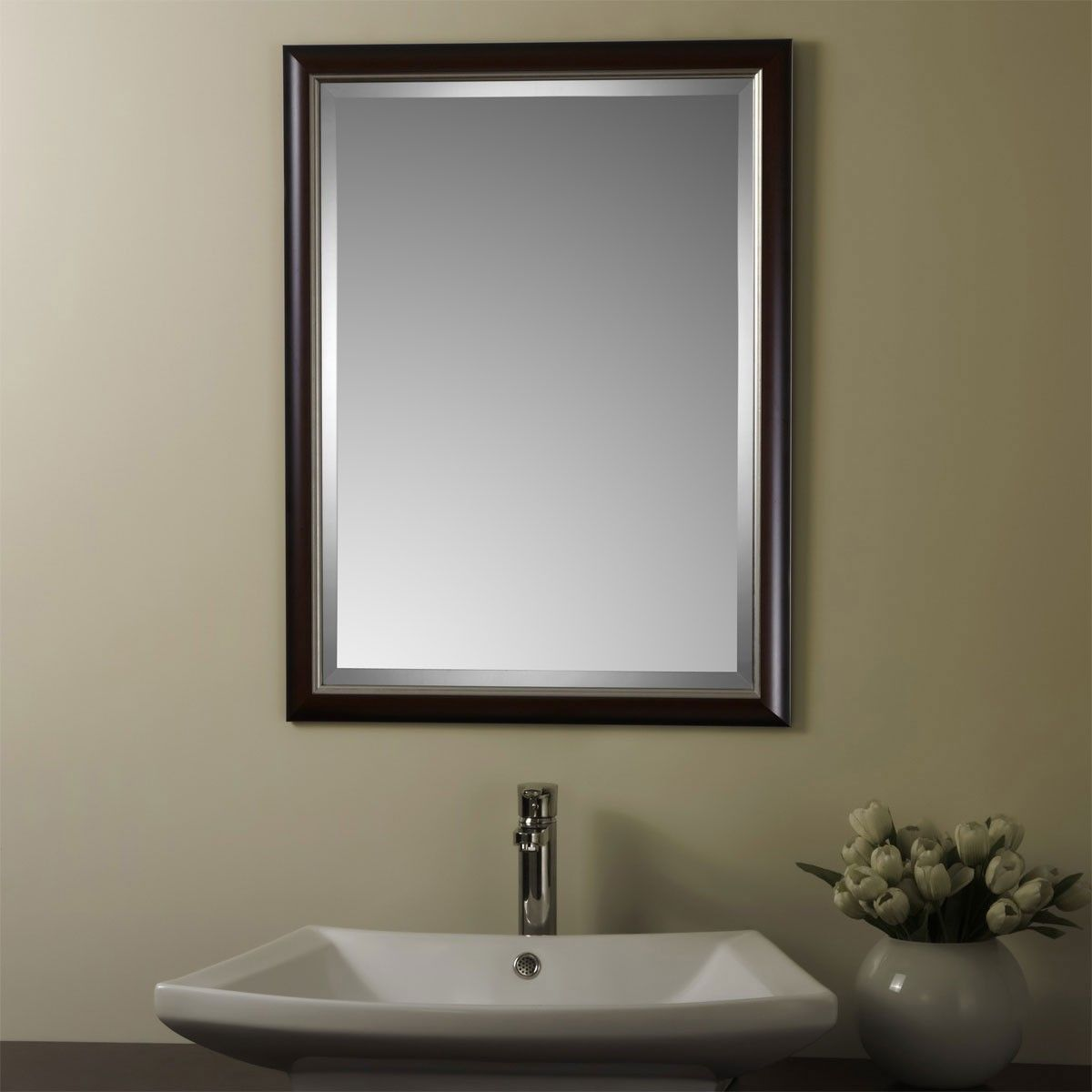 24 x 32 In Reversible Wood-imitation Framed Bathroom Silvered Mirror (YJ-1746H)