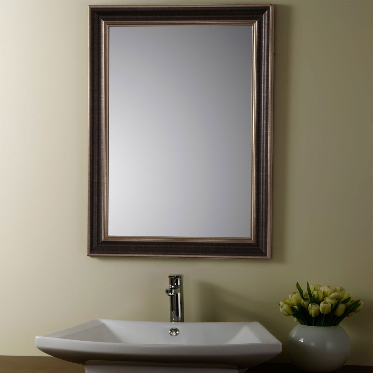 24 x 32 In Reversible Wood-imitation Framed Bathroom Silvered Mirror (YJ-1953H)
