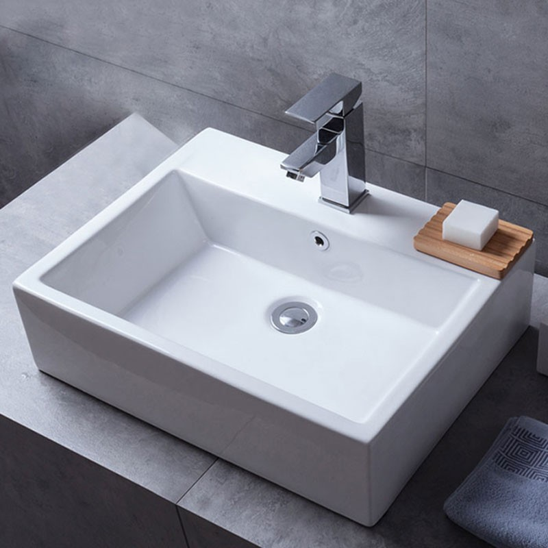 Decoraport White Rectangle Ceramic Above Counter Basin (CL-1118)