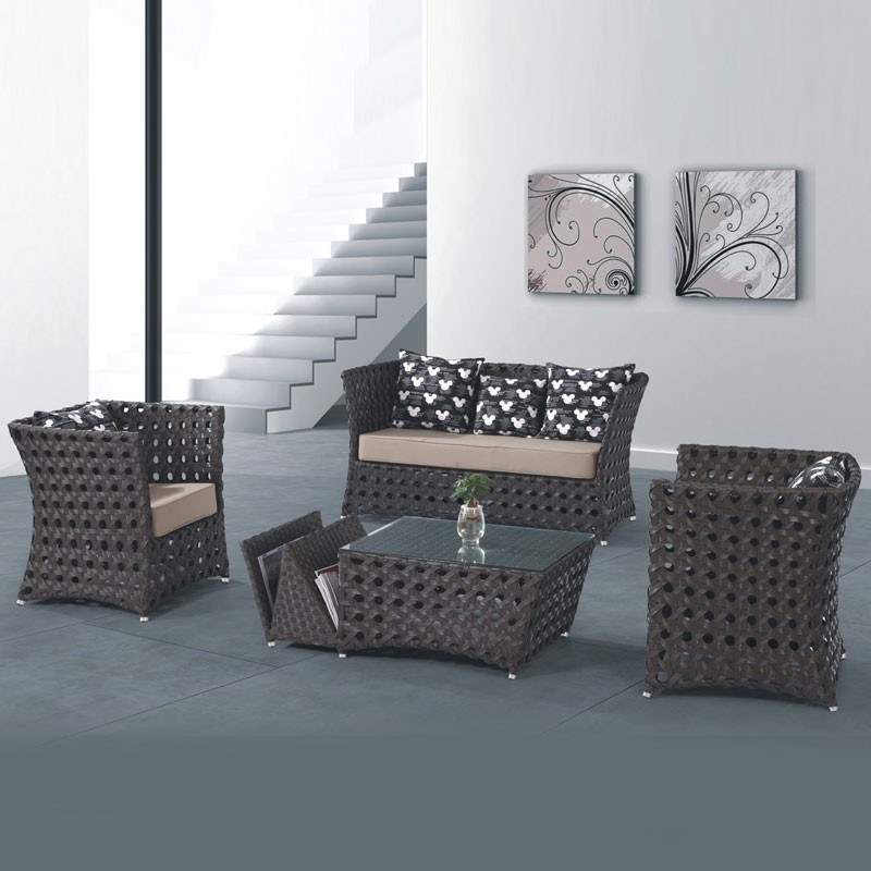 4-Piece PE Rattan Sofa Set: Loveseat, 2 Lounge Chairs, Coffee Table (LLS-233)