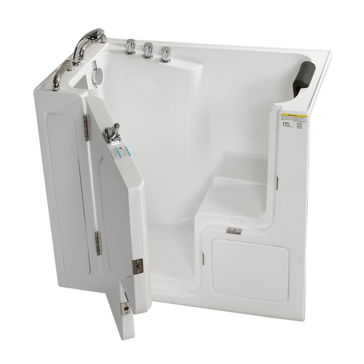 52 x 30 In Walk-in Soaking Bathtub - Acrylic White with Left Drain (DK-Q358-L)