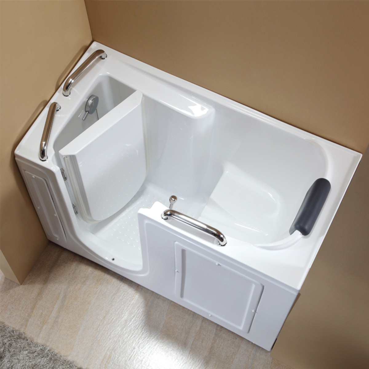 53 x 26 In Walk-in Soaking Bathtub - Acrylic White with Left Drain ...