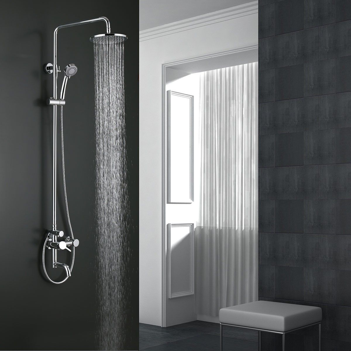 Rain Shower Head Bathtub Faucet Brass With Chrome