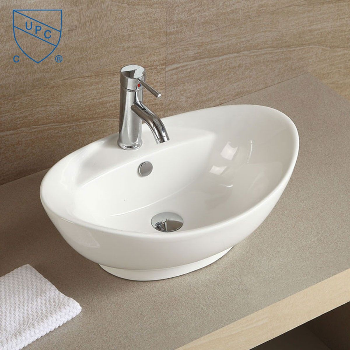 Above counter bathroom sinks canada - Decoraport White Oval Ceramic Above Counter Vessel Sink Cl 1038