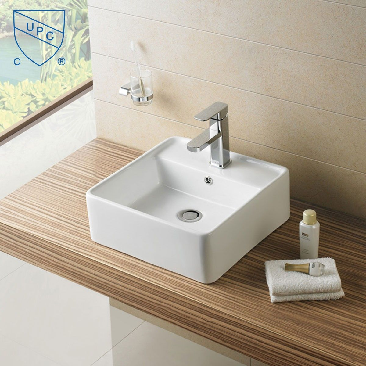 White Square Ceramic Above Counter Basin (CL-1098)