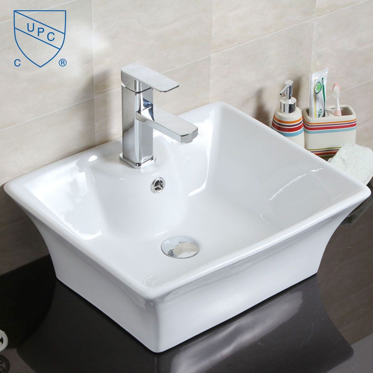 Decoraport White Rectangle Ceramic Above Counter Basin (CL-1097)