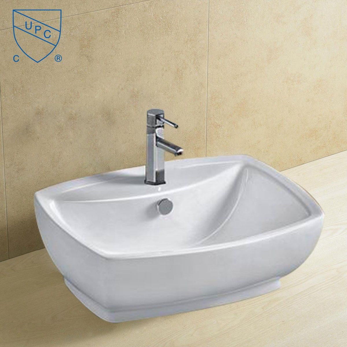Decoraport White Rectangle Ceramic Above Counter Basin (CL-1090)
