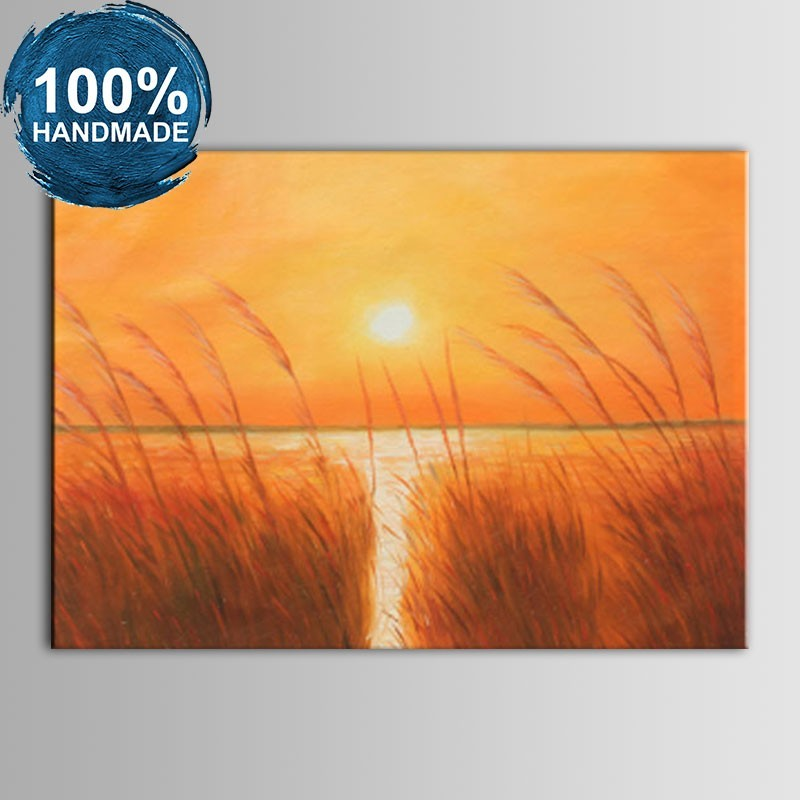 100% Hand Painted Abstract Sunset Seascape Oil Painting on Canvas (DK-JX-YH056)