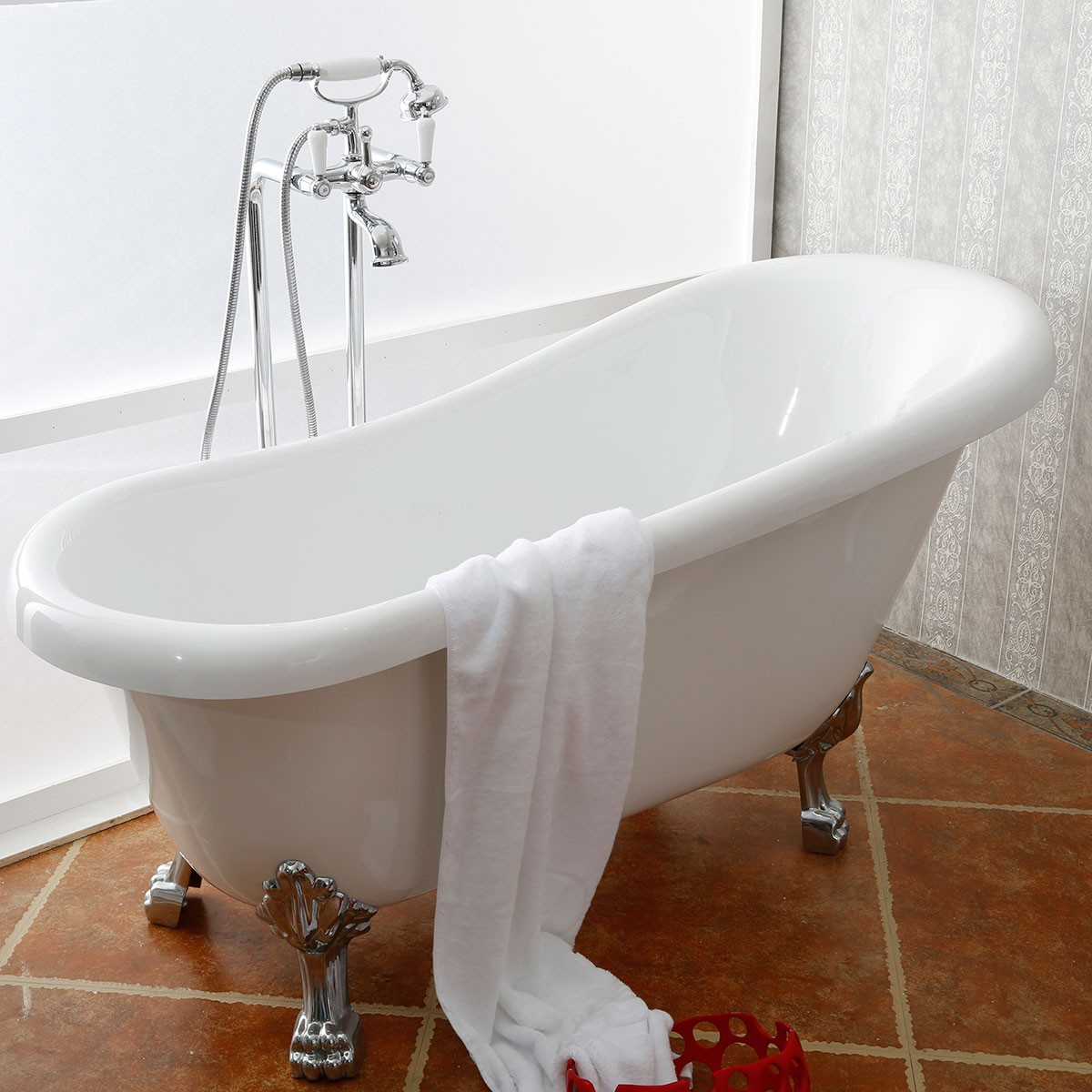 61 In Clawfoot Freestanding Bathtub - Acrylic White (DK-1912W)
