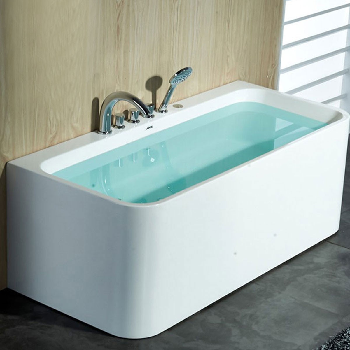 59 In Back To Wall Freestanding Bathtub With Drain Acrylic White DK 1508