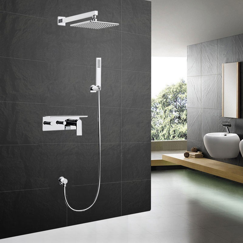 Bathroom Single Handle Tub and Shower Faucet - Brass with Chrome Finish (7579)