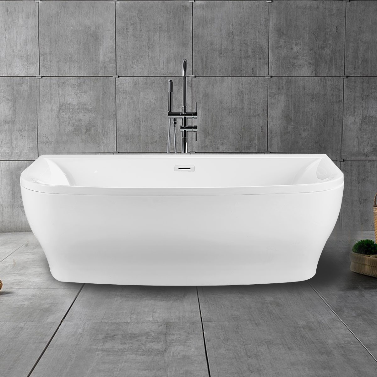 65 In Back To Wall Freestanding Bathtub With Drain