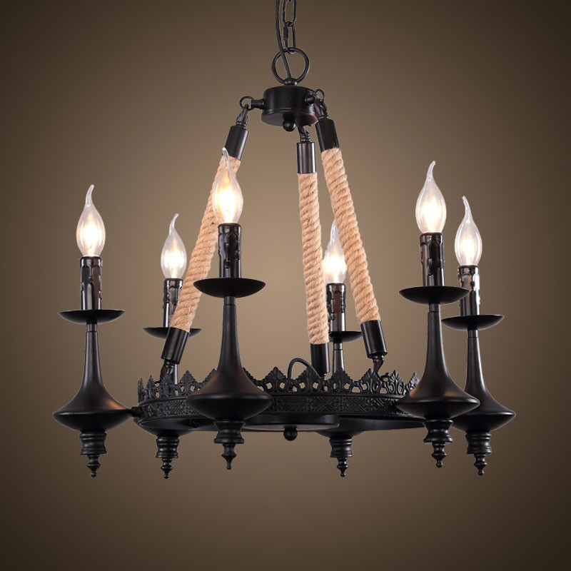 6-Light Iron Built Matte Black Vintage Rope Chandelier (DK-8121-D6)