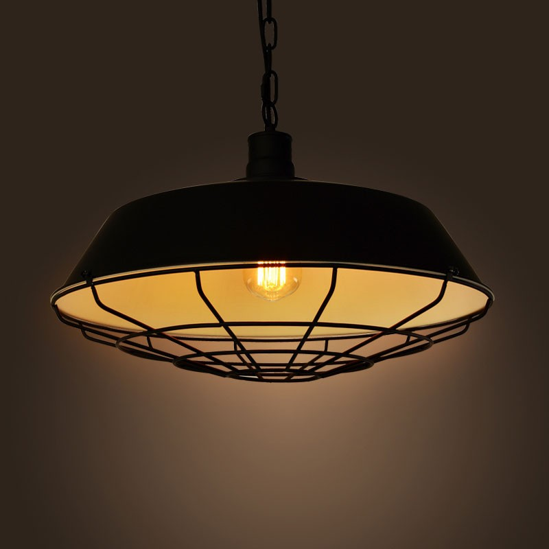 Iron Built Matte Black Vintage Pendant Light (DK-2018-D1C)