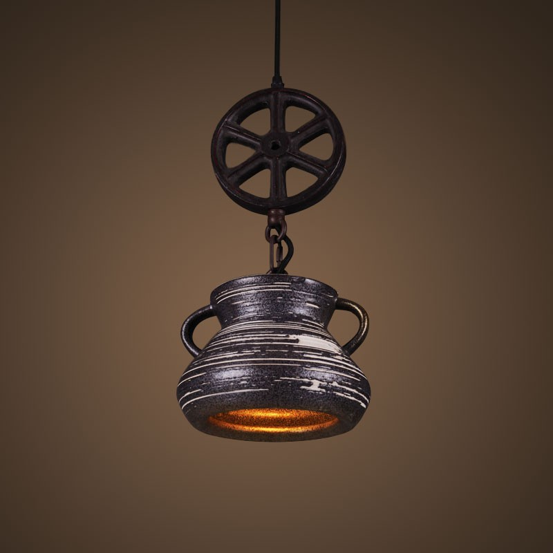 Ceramic Built Black Vintage Pendant Light (DK-2048-D1A)