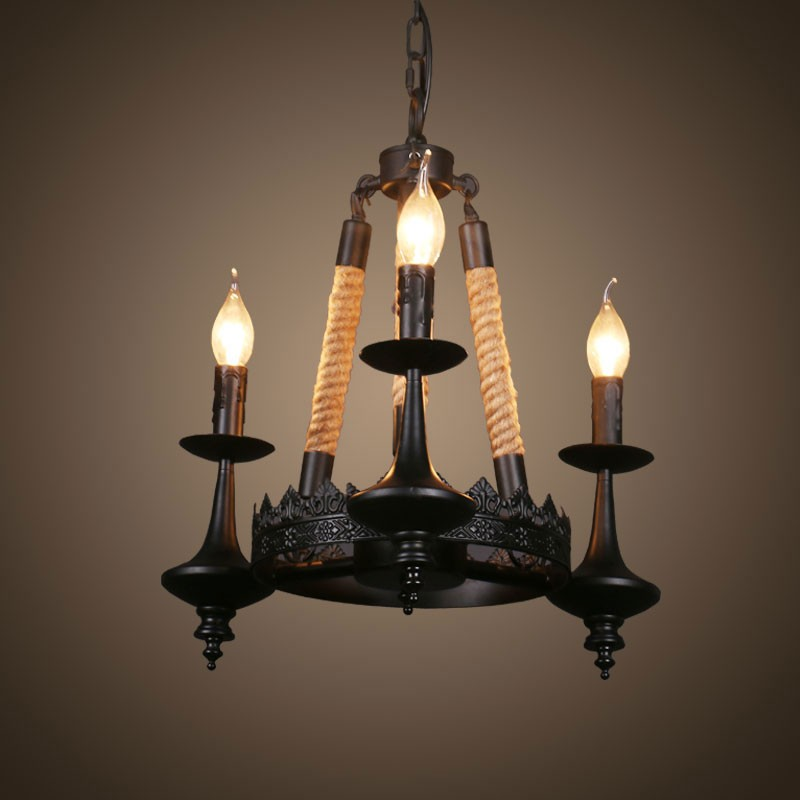 3-Light Iron Built Matte Black Vintage Rope Chandelier (DK-8121-D3)