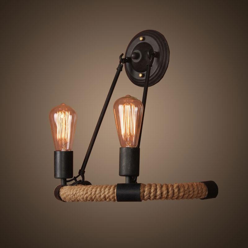 2-Light Iron Built Matte Black Vintage Rope Wall Sconce (DK-8108-B2)