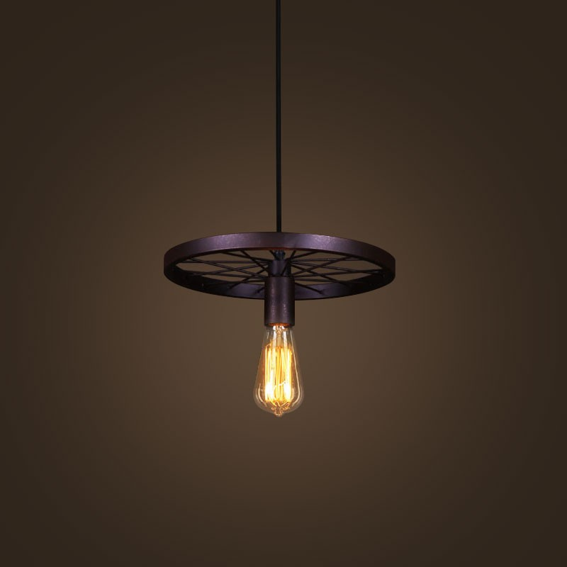 Iron Built Rust Vintage Wheel Pendant Light (DK-5028-D1)