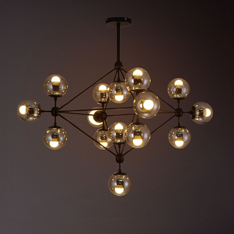 15-Light Iron Built Black Vintage Glass Ball Pendant Light (DK-5133-D15)