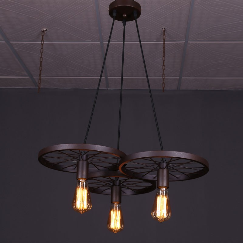 3-Light Iron Built Rust Vintage Wheel Pendant Light (DK-5028-D3)