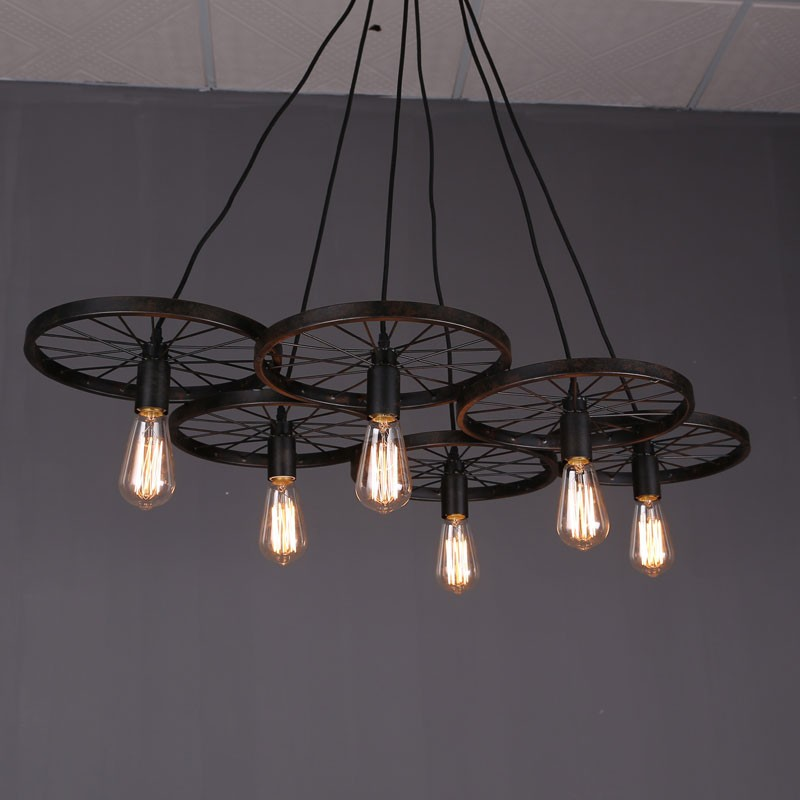 6-Light Iron Built Rust Vintage Wheel Pendant Light (DK-5028-D6)