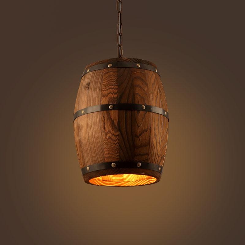 Wooden Built Rust Vintage Barrel Pendant Light (DK-7098-D1A)