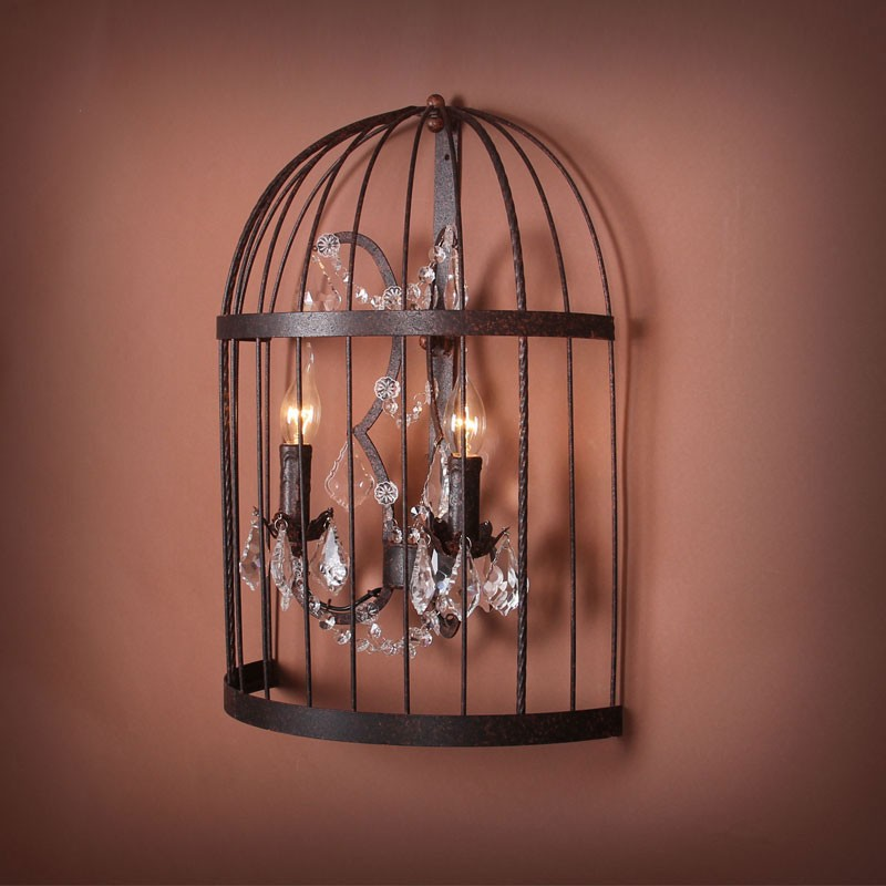 2-Light Iron Built Rust Vintage Birdcage Crystal Wall Sconce (DK-5006-B2)