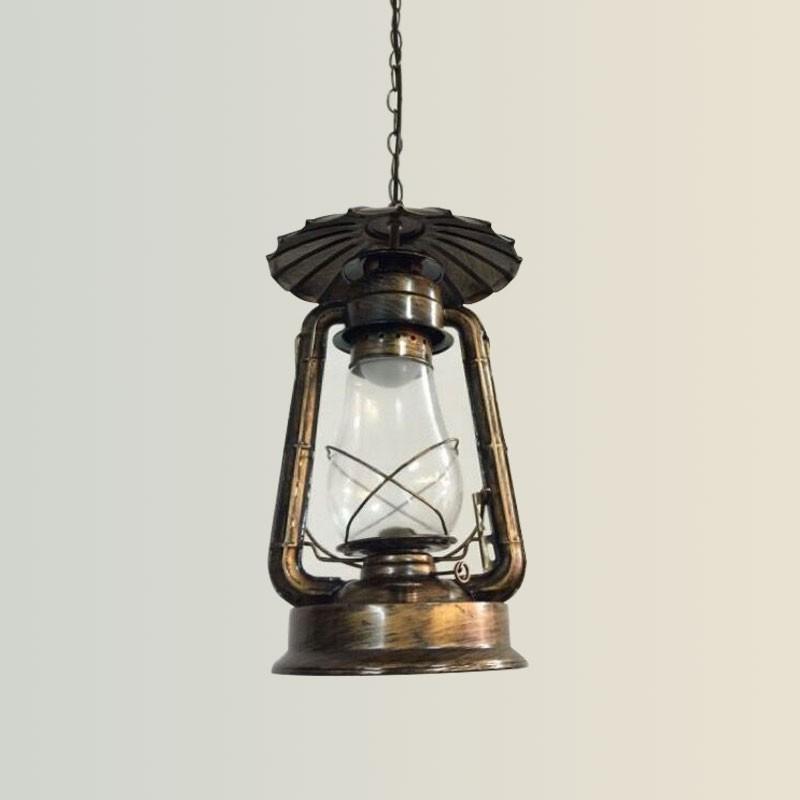 Rust Built Vintage Pendant Light with Glass Shade (DK-5260-D1A)