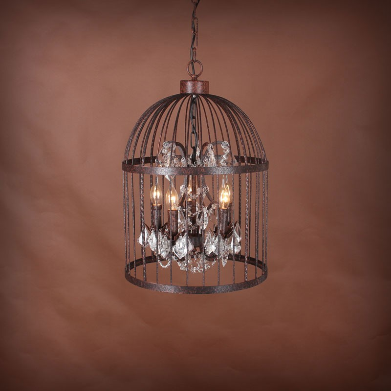 5-Light Iron Built Rust Vintage Birdcage Crystal Pendant Light (DK-5006-D5)