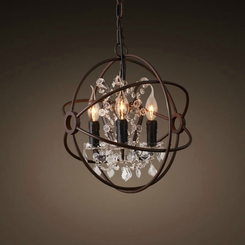 3-Light Iron Built Rust Vintage Globe Chandelier (DK-5014-D3)