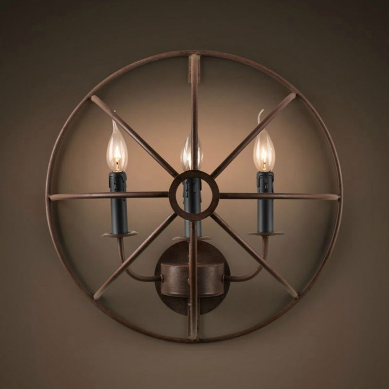 3-Light Iron Built Rust Vintage Wall Sconce (DK-5013-B3)