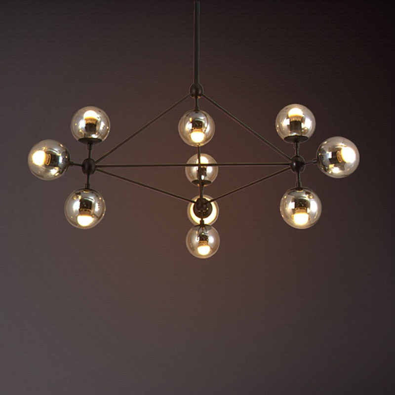 10-Light Iron Built Black Vintage Glass Ball Pendant Light (DK-5133-D10)
